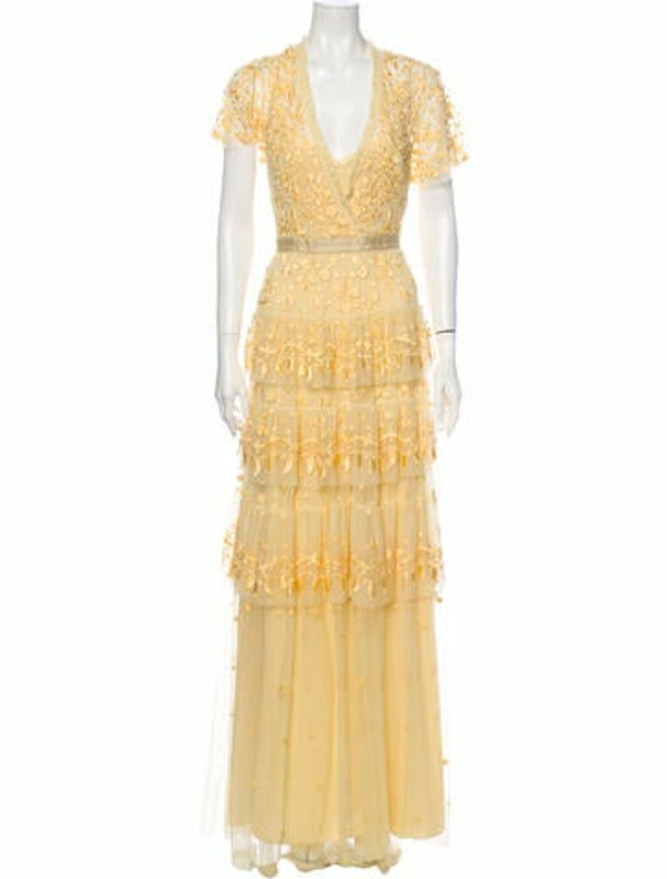 Needle & Thread Floral Print Long Dress Yellow