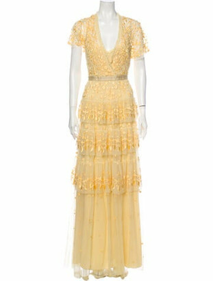 Needle & Thread Floral Print Long Dress Yellow