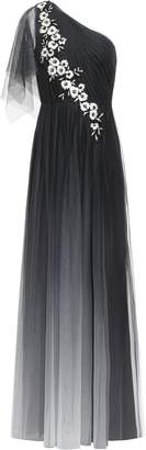 Marchesa One-shoulder Embellished Embroidered Tulle Gown