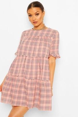 boohoo Short Sleeve Tiered Check Smock Dress