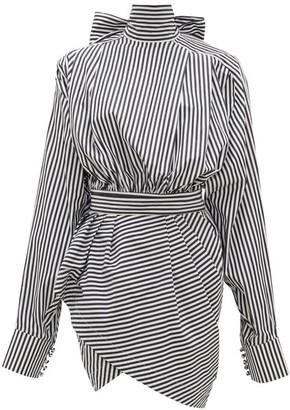 Matthew Adams Dolan - Lavalliere Striped Cotton-poplin Mini Dress - White Black