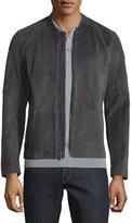 Michael Kors Quilted-Shoulder Suede Racer Jacket, Dark Gray