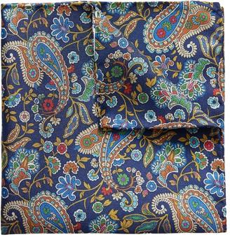 Eton Blue Floral & Paisley Print Pocket Square
