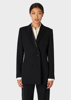 Paul Smith Women's Black Double-Breasted Tuxedo Blazer With Satin Details