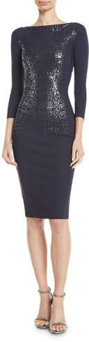 Chiara Boni Liepa Body-Con Dress w/ Metallic Embellishments