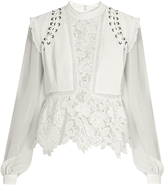 Self-Portrait Lace-up shoulder crepe blouse