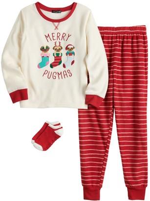 "Cuddl Duds Girls 4-16 Merry Pugmas"" 2-Piece Pajama Set with Matching Socks"