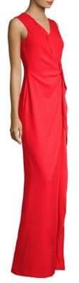 Escada Women's Grewa V-Neck Ruffle Front Gown - Red - Size 38 (8)