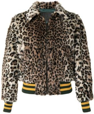 R 13 Leopard Print Faux-Fur Jacket