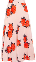 GANNI - Harness Floral-print Silk Crepe De Chine Midi Skirt - Pastel pink