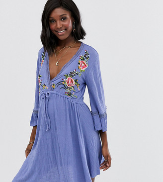 Asos DESIGN Maternity mini embroidered smock dress with ladder trim-Blue