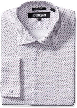 "Stacy Adams Men's Mini Print Dress Shirt Grey 17.5"" Neck 34-35"" Sleeve"