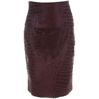 Salvatore Ferragamo Burgundy Leather Skirts