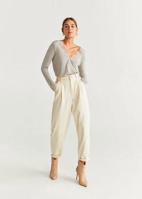 MANGO Lace trim T-shirt light/pastel grey - XS - Women