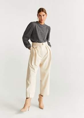 MANGO Puffed sleeves sweater sand - XS - Women