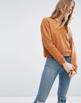 Asos Sweatshirt With Zip Detail In Cropped Boxy Fit