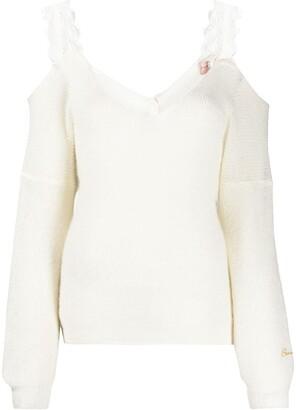 Ermanno Ermanno Lace Straps Cold Shoulder Jumper