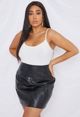 Missguided Plus Size Black Faux Leather Panel Mini Skirt