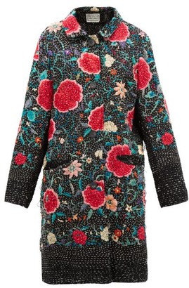 By Walid Zosia Floral-embroidered Cotton And Silk Coat - Black Red