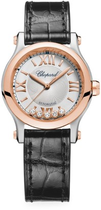 Chopard Happy Sport Diamond Stainless Steel & Leather Strap Watch