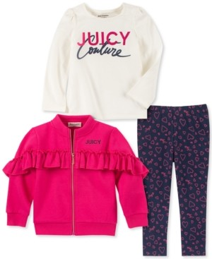 Juicy Couture Toddler Girls 3-Pc. Ruffled Sweatshirt, Long Sleeve T-Shirt and Leggings Set