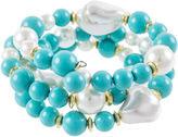 Kenneth Jay Lane BIJOUX BAR KJL by Aqua and Simulated Pearl Gold-Tone Coil Bracelet