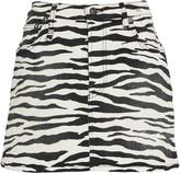 R 13 Zebra Print Denim Mini Skirt