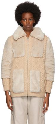 Stella McCartney Beige Faux Fur Zip Up Sweater