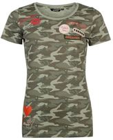 Golddigga Womens Badge T Shirt Tee Top Camouflage Crew Neck Short Sleeve Pattern