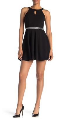 Love, Nickie Lew Keyhole Front Crystal Embellished Waist Skater Dress