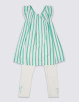 Marks and Spencer 2 Piece Cotton Rich Striped Top & Leggings Outfit (3 Months - 5 Years)