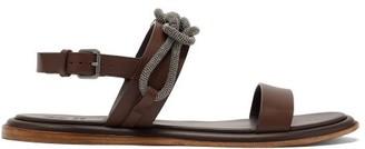 Brunello Cucinelli Monili-chain Leather Sandals - Brown