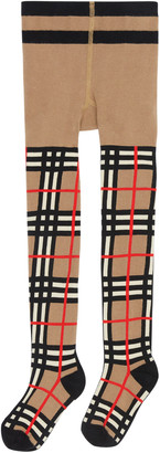 Burberry Girl's Vintage Check Tights, Size 3-10
