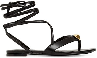 Valentino 10mm Roman Stud Leather Thong Sandals