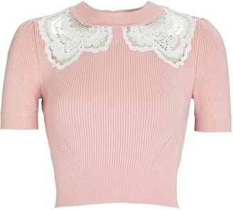 Self-Portrait Guipure Lace-Trimmed Rib Knit Top