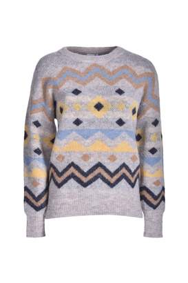 Ichi Estelle Feather Knit Pullover - S / 36 | alpaca wool | grey - Grey/Grey
