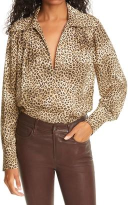 Frame Tabitha Leopard Print Silk Popover Shirt