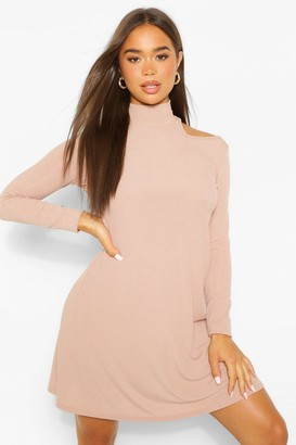 boohoo Cold Shoulder Roll Neck Swing Dress