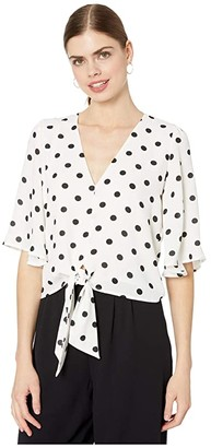 1 STATE 1.State 1.STATE Vintage Dot Flounce Sleeve Tie Front V-Neck Blouse (Soft Ecru) Women's Clothing