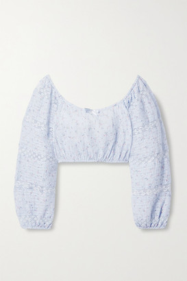 LoveShackFancy Albertina Cropped Lace-trimmed Floral-print Cotton-voile Top - Light blue