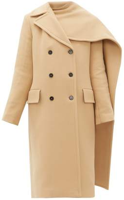 MSGM Removable Scarf Wool Blend Double Breasted Coat - Womens - Beige