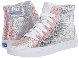Keds Kids Double Up High Top (Little Kid/Big Kid) (Color Block Sparkle) Girl's Shoes