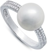 Crislu 10mm Freshwater Pearl & CZ Pave Ring