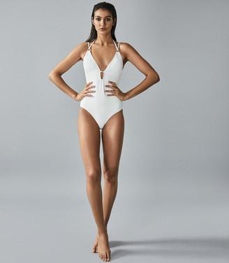 Reiss Louella - Cross Back Swimsuit in White