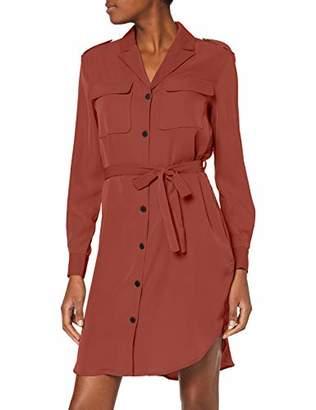 Vero Moda Women's Vmselina L/s Short Shirt Dress Ki Brown Mahogany, (Size: 42)