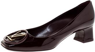 Louis Vuitton Burgundy Patent Madeleine Logo Block Heel Pumps Size 36.5