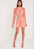 Missguided Carli Bybel Long Sleeve Lace Cut Out Bodycon Dress Pink