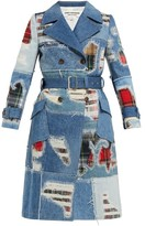 Junya Watanabe Patchwork Denim Trench Coat - Womens - Blue Multi
