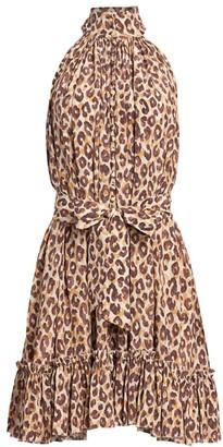 Zimmermann Super 8 Leopard-Print Halterneck Mini Dress
