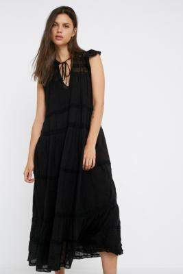 Free People Midnight Midi Dress - black S at Urban Outfitters